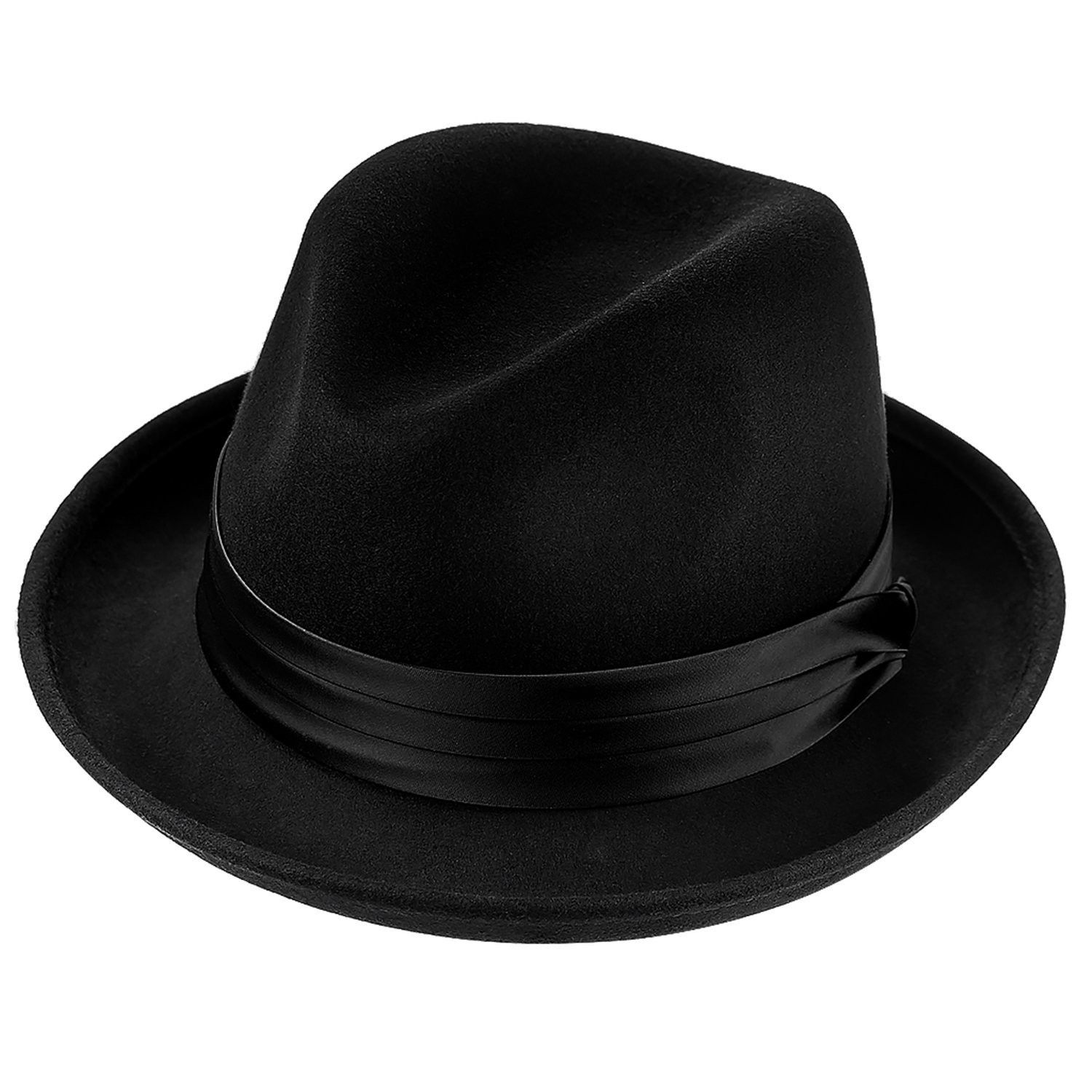 b3436392848 Men Fedora Hats with Feather Australia Wool Trilby Hat - 131black ...
