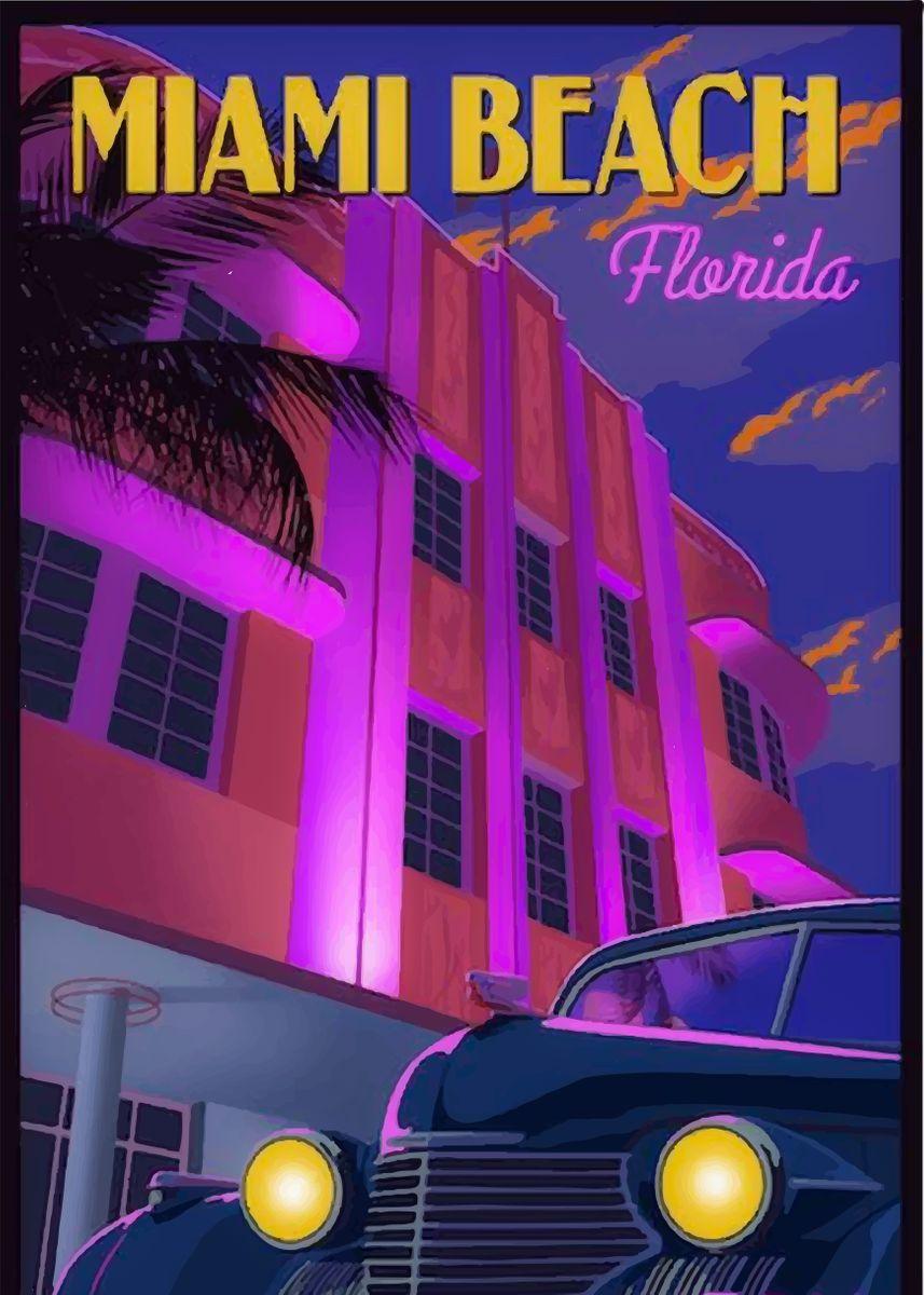 Miami Beach Vintage Poster Metal Poster Print Mihai Displate In 2021 Vintage Travel Posters Travel Posters Vintage Travel
