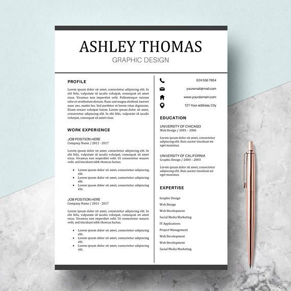 Professional Resume Template Cv Template For Ms Word Cover