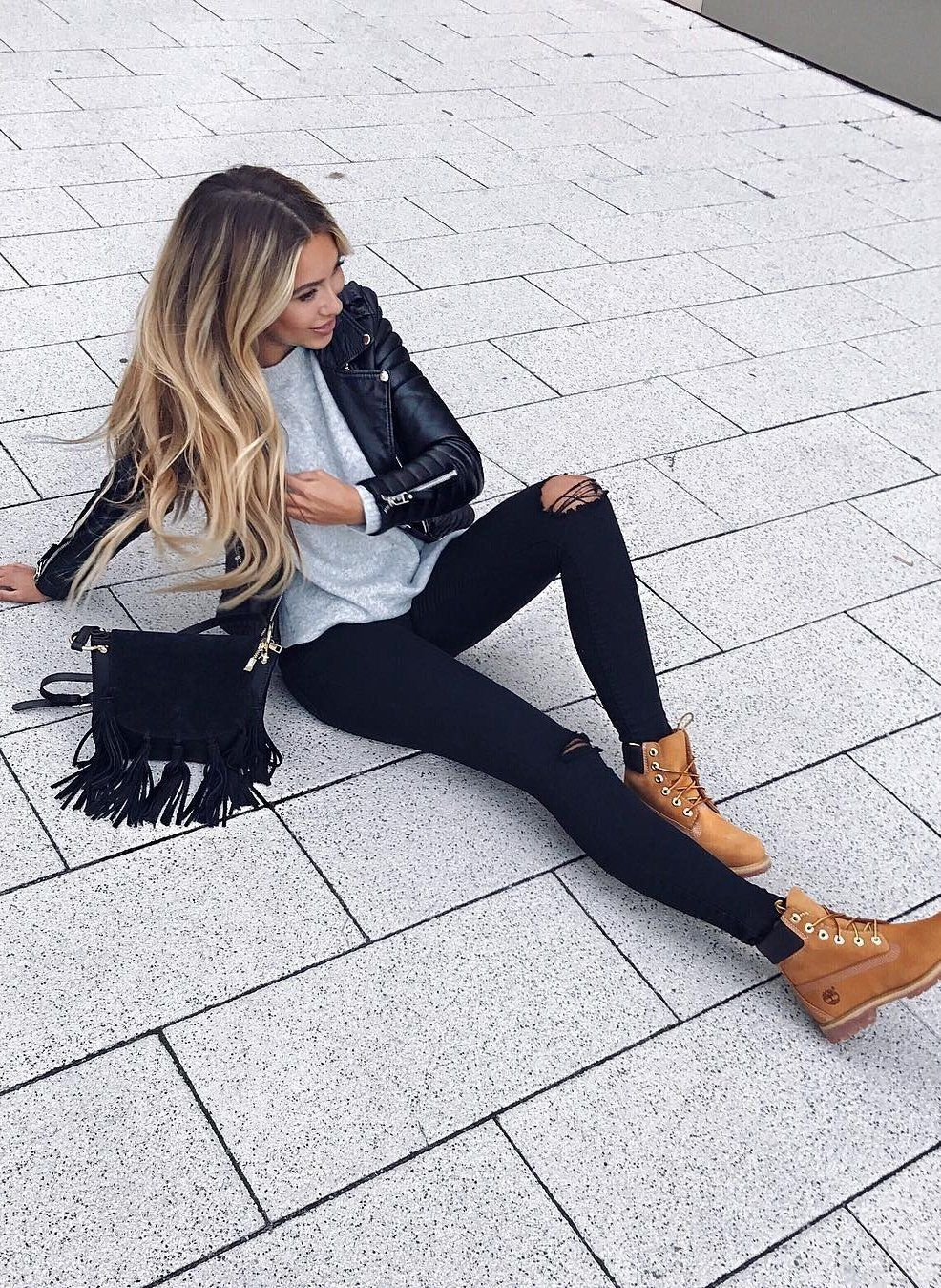 fall  fashion · Leather Jacket + Destroyed Jeans + Shoulder Bag Timberland  Boots Outfit 2c33bc82eaa7