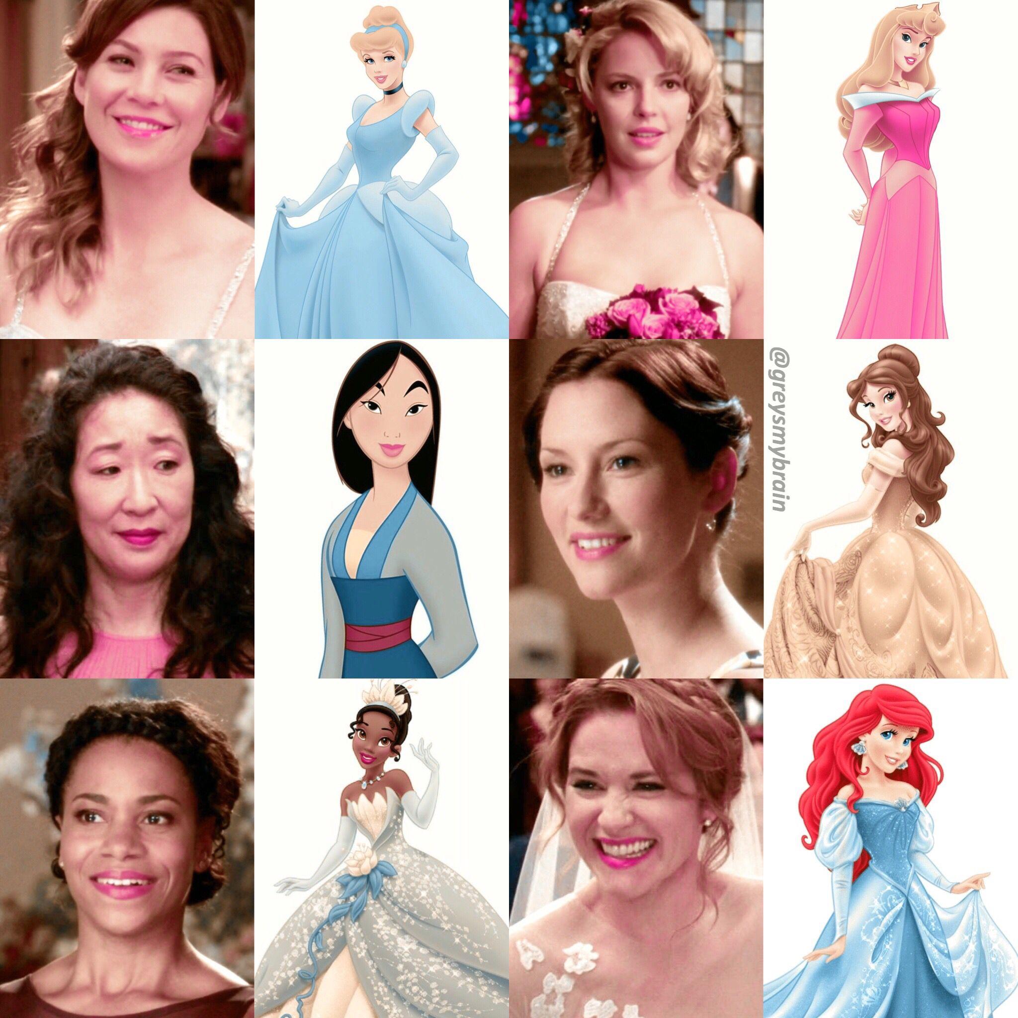 Grey\'s Anatomy Girls as Disney Princesses | Greys anatomy ...