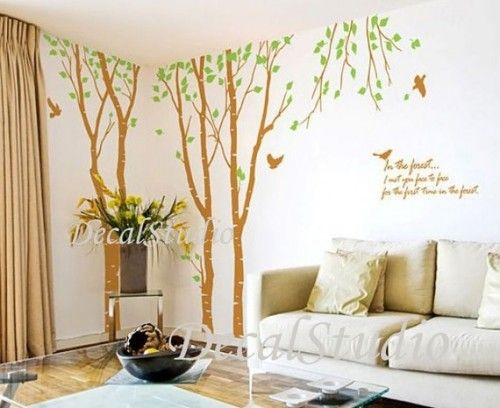 Huge Birch Tree With Flying Birds-Wall Decal Sticker Office Home White
