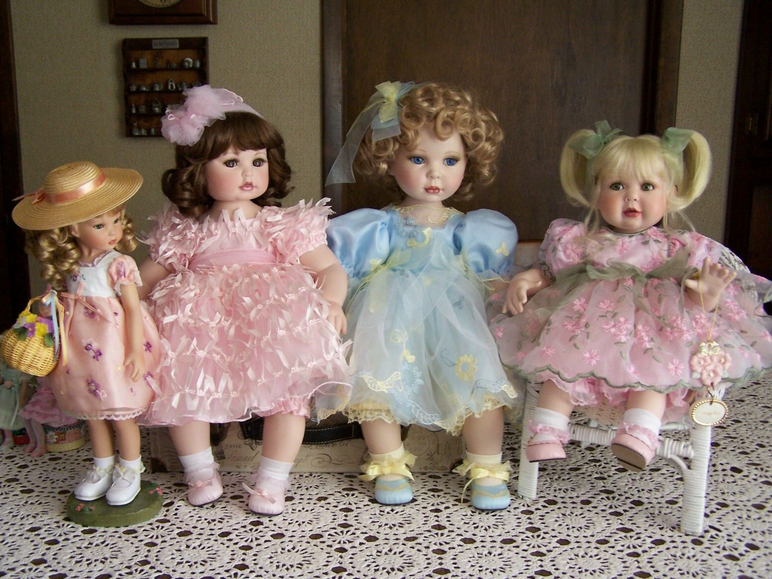 This is my Springtime Group of Marie Osmond Dolls. Nancy Peterson's photo.