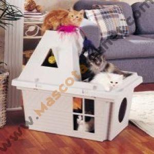 Casa para gatos v lida para exterior con pelotas y plumeros miau pinterest cats y gatos - Casa gatos exterior ...