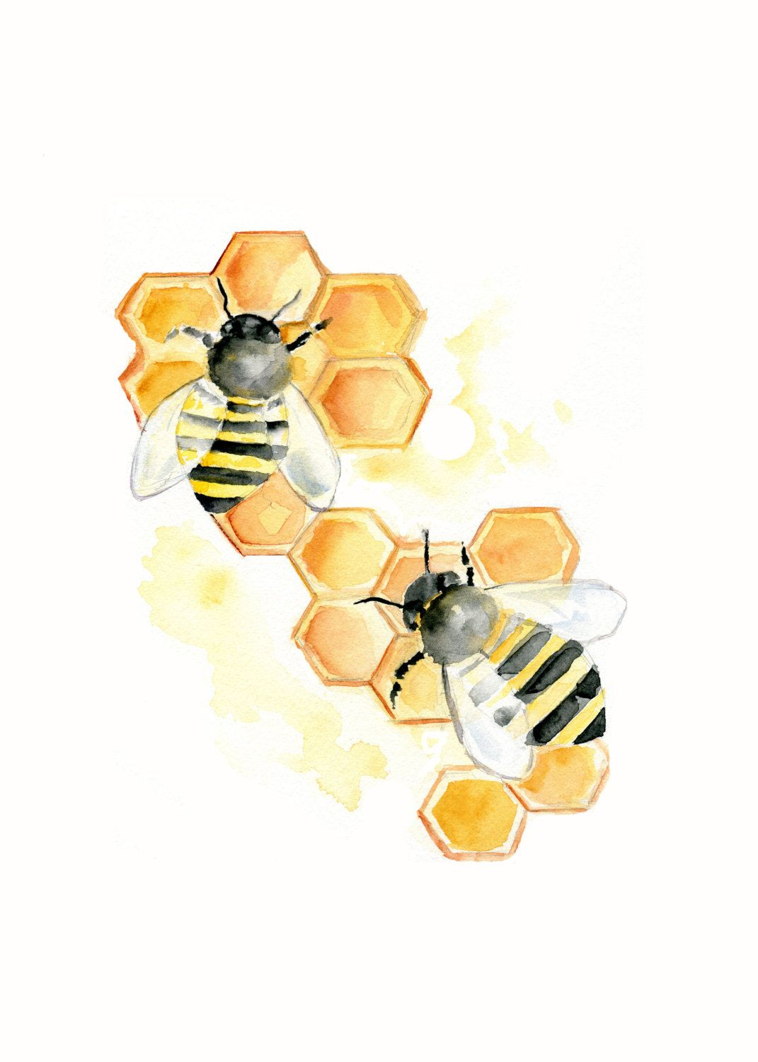 Bees on Honeycomb Watercolor print 5 X 7inch by Marysflowergarden ...