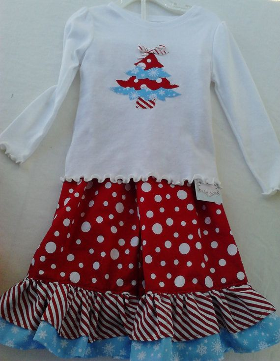 Christmas Outfit Ruffle Pants Red White And Blue By Tutsboutique
