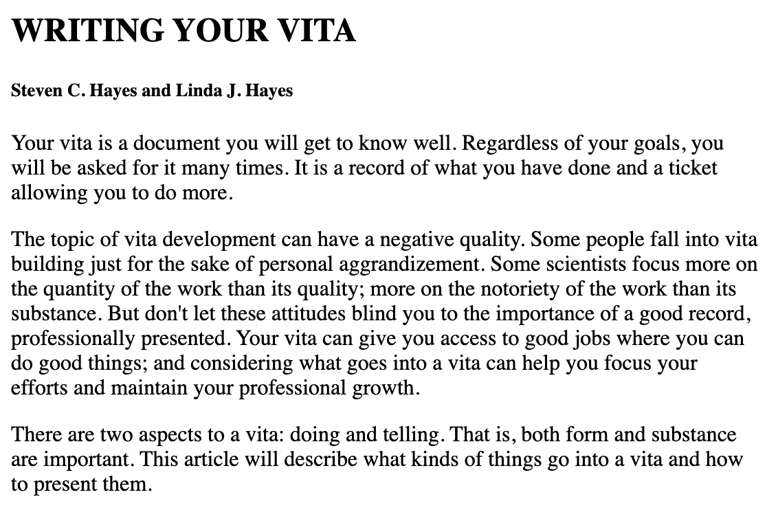 Prepare a Vita Psychology student, Professional
