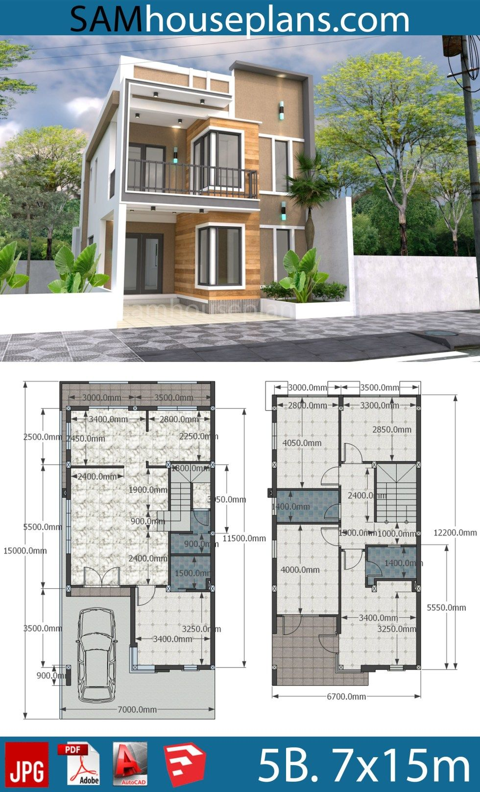 House Plans 7x15m With 4 Bedrooms Sam House Plans Model House Plan Modern Style House Plans Two Story House Design
