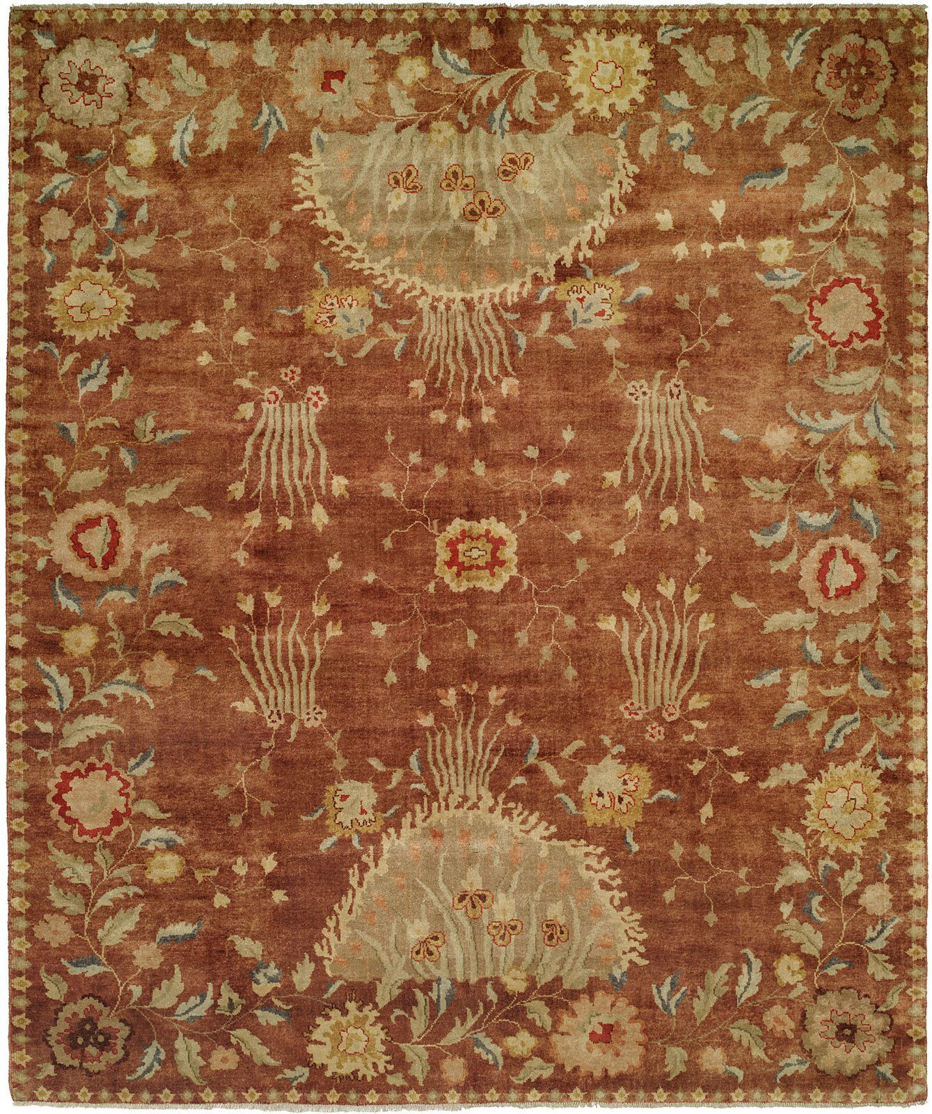 Dumka Hand Knotted Rosewoodyellow Area Rug