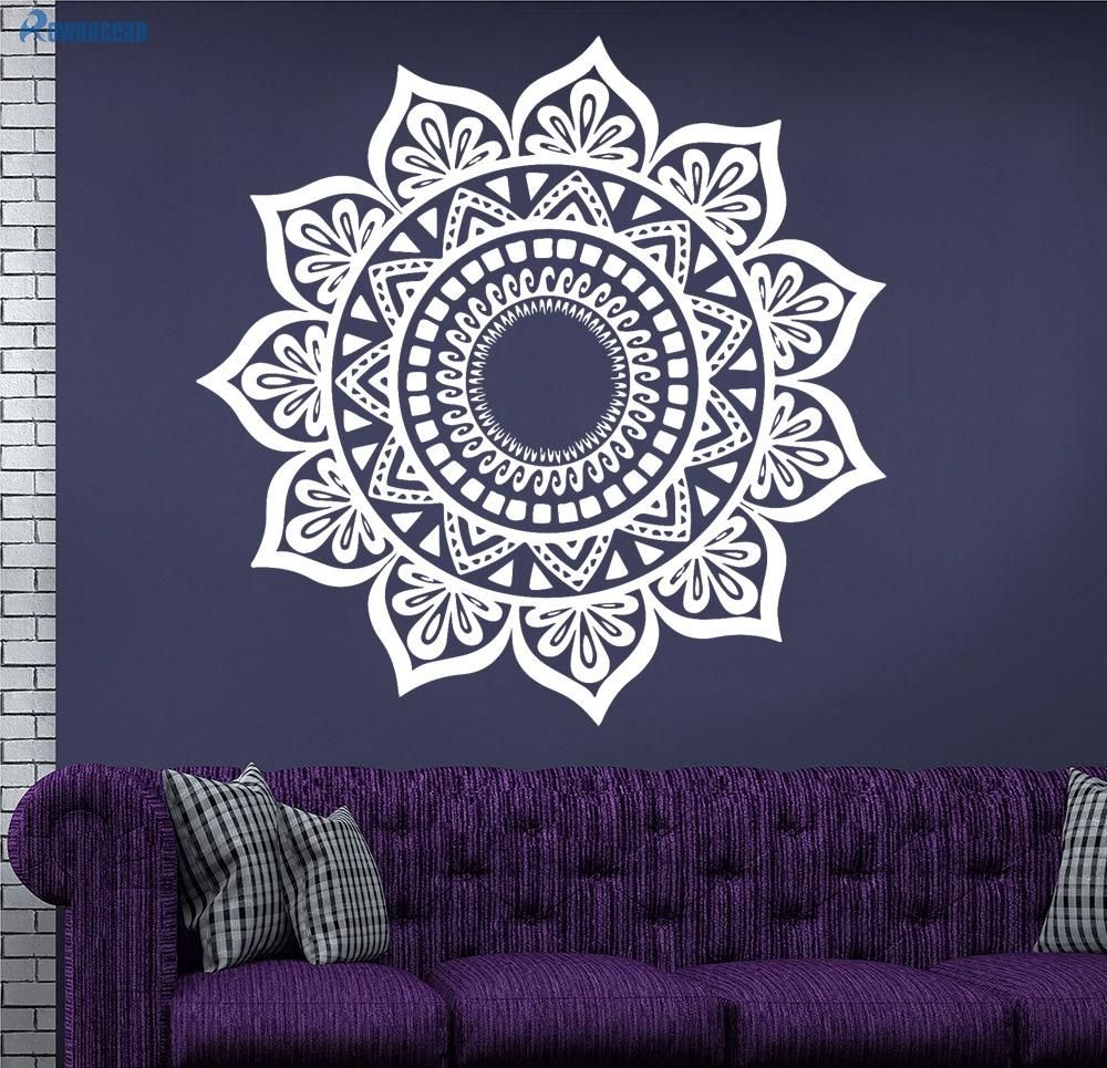 Custom Color Mandala Indian Round Yoga Wall Stickers Removable ...