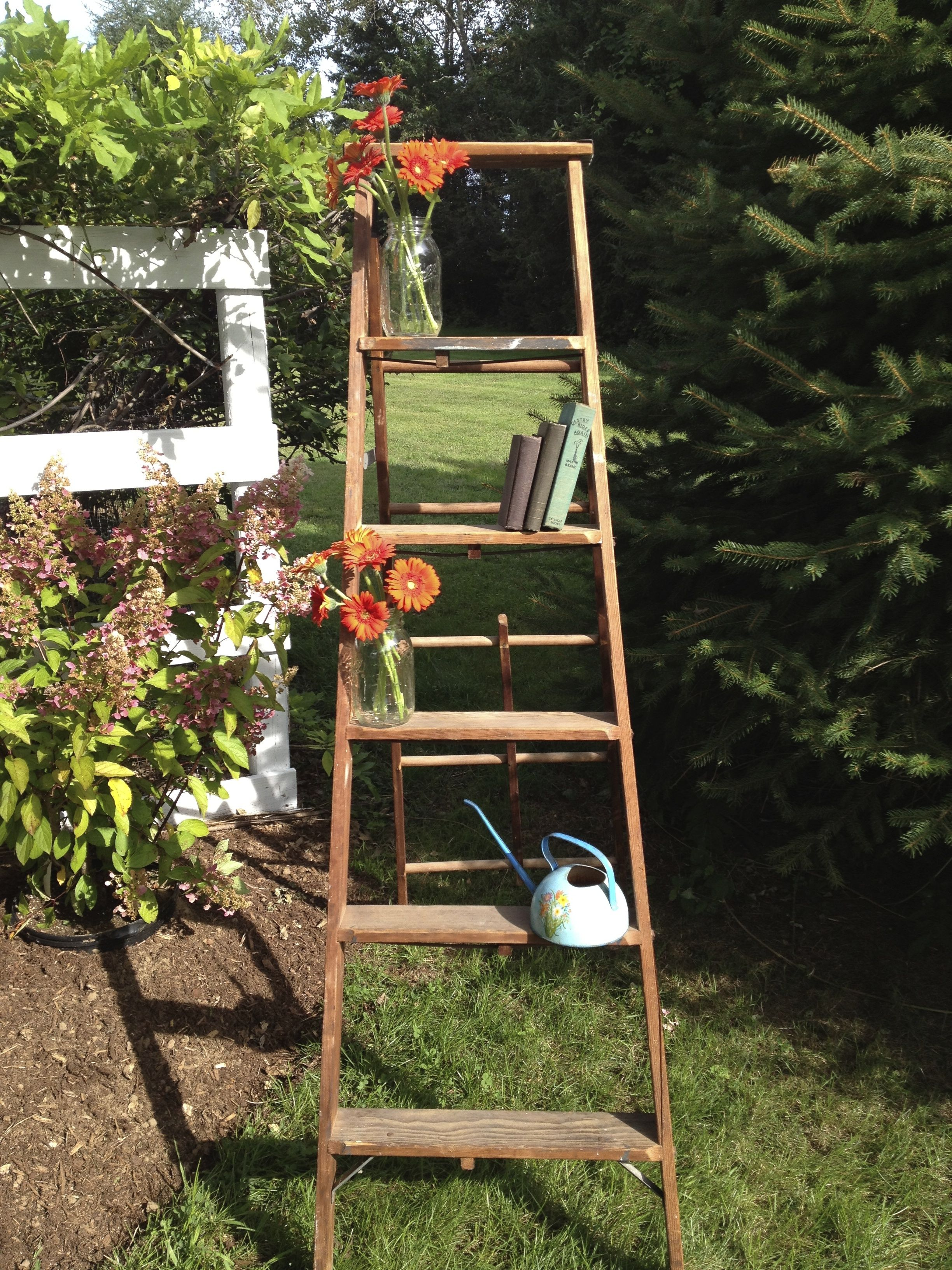 A ladder used as decor for any outside event #deocr #DIY #floral #outdoors #unique #simple #elegant