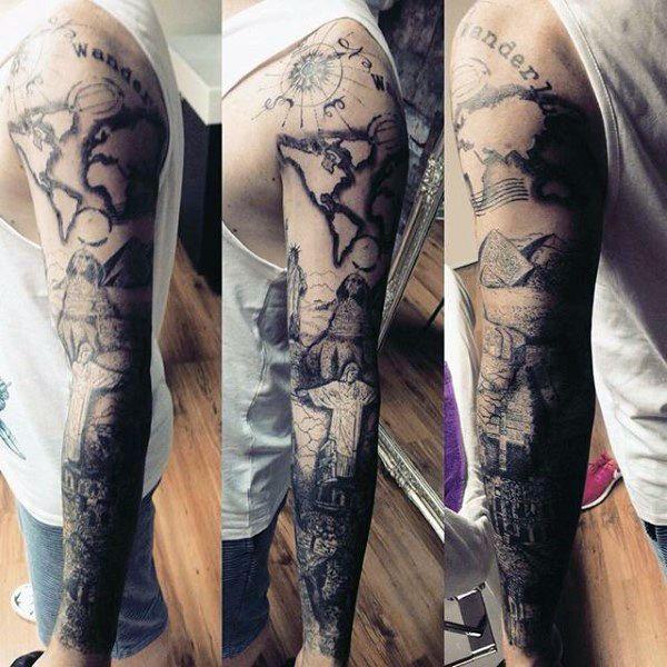 1c8c9588c 75 Travel Tattoos For Men - Adventure Design Ideas | Tattoo | Full ...