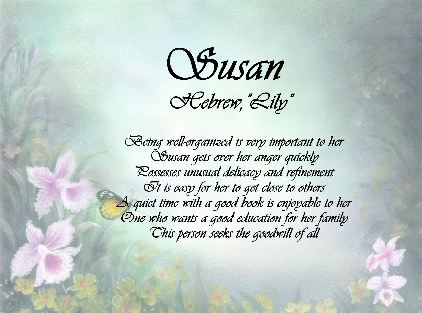 Susan Name Keepsake Print Getting over her, Scripture print