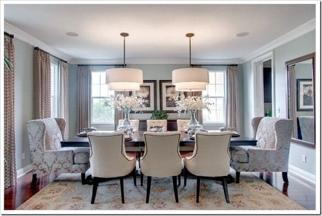 Double Chandeliers Stylish Dining Room Transitional Dining Room