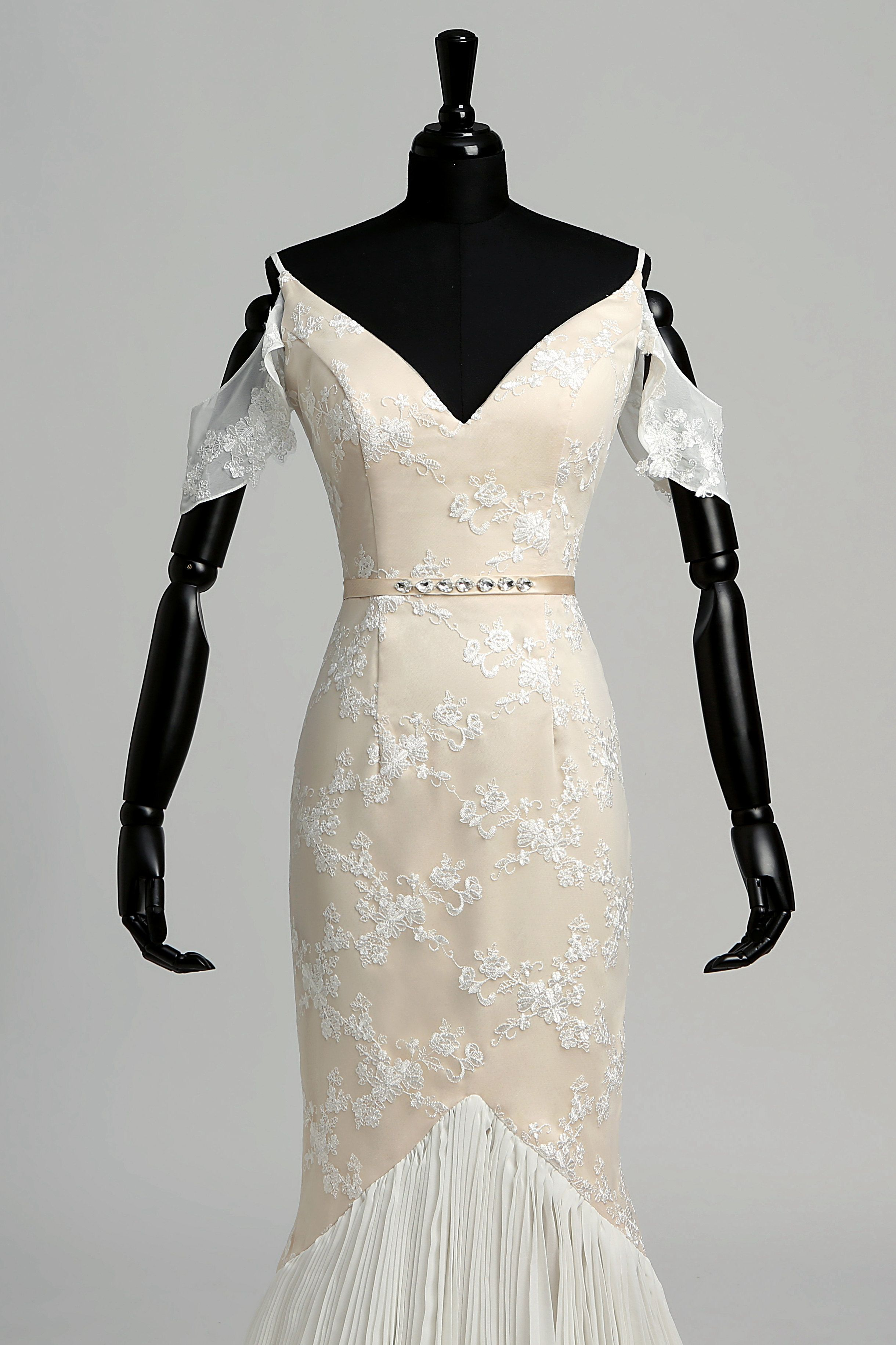Offtheshoulder deepv back mermaid lace wedding dress june