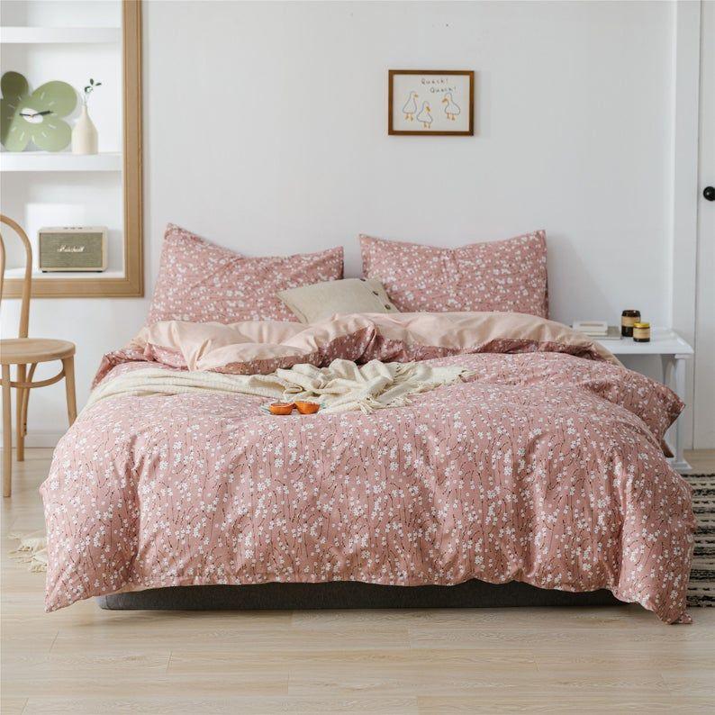 Cotton Duvet Cover Set White Floral Bedding Set Bedding Set Etsy In 2020 Duvet Cover Sets Floral Bedding Sets Duvet Covers Floral
