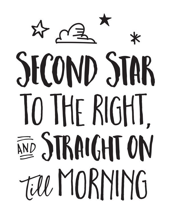 Printable Art Movie Book Quote Second Star To The Right And