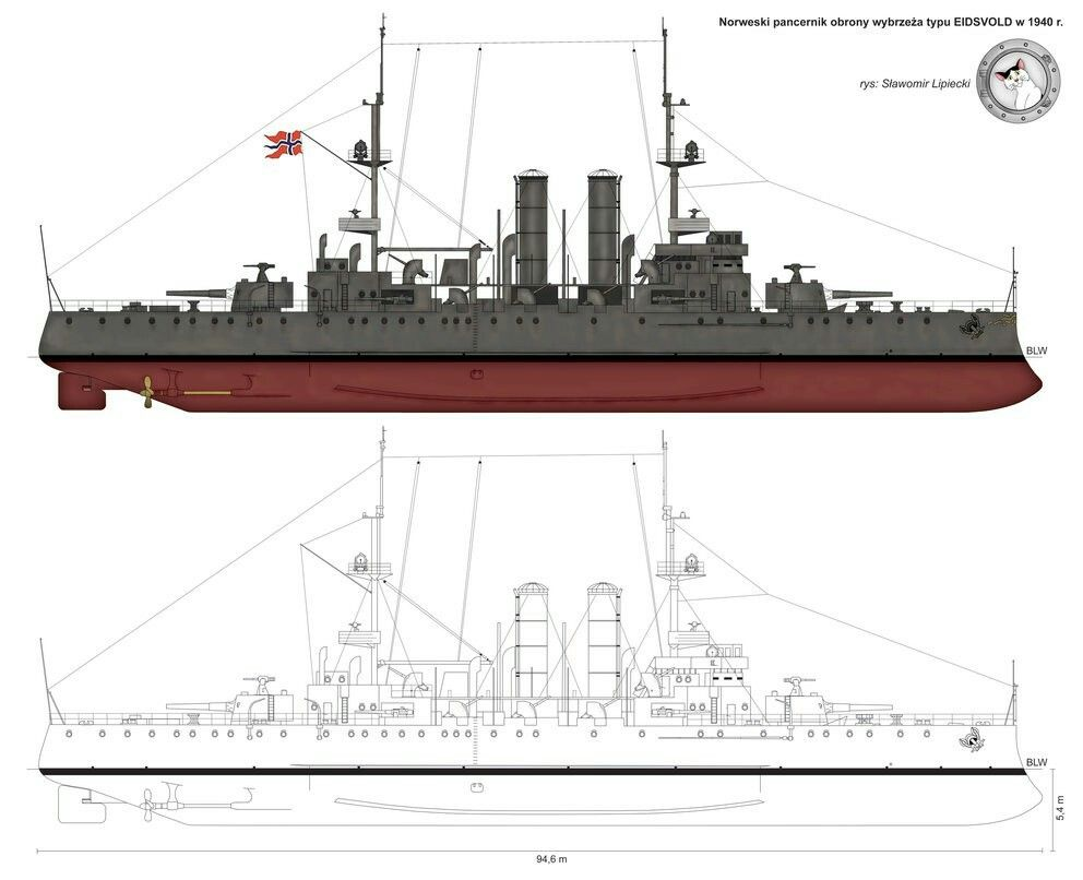 Find This Pin And More On Wartime Norway The Ancient Eidsvold Class Coastal  Battleships (also Referred To As Coastal Defence Ship)