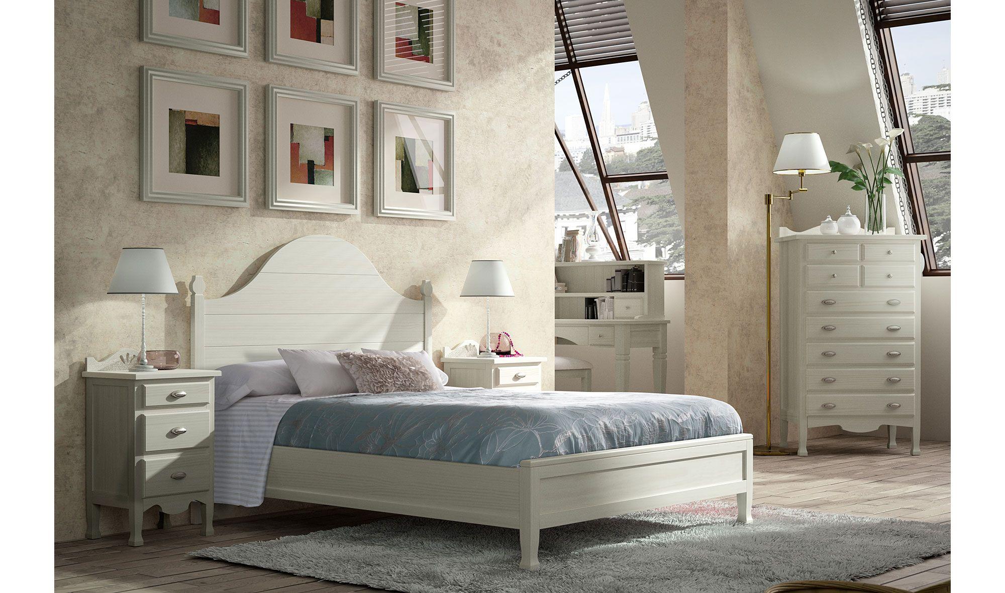 Dormitorio vintage provenzal blanco decco de lujo en for Muebles de habitacion en blanco