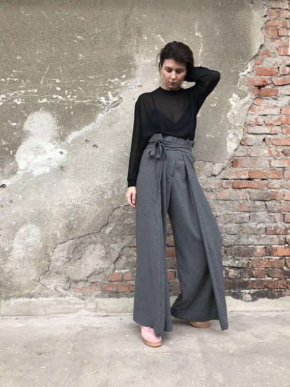 d6f90fb4c8 Palazzo Pants, High Waist Pants, Wide Leg Pants, Women Pants, Wool Pants,  Gray Trousers, Extravagant