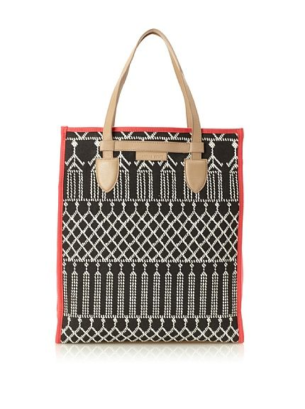 Isabella Fiore Women's Beaded Print North/South Tote, Black/White/Pink