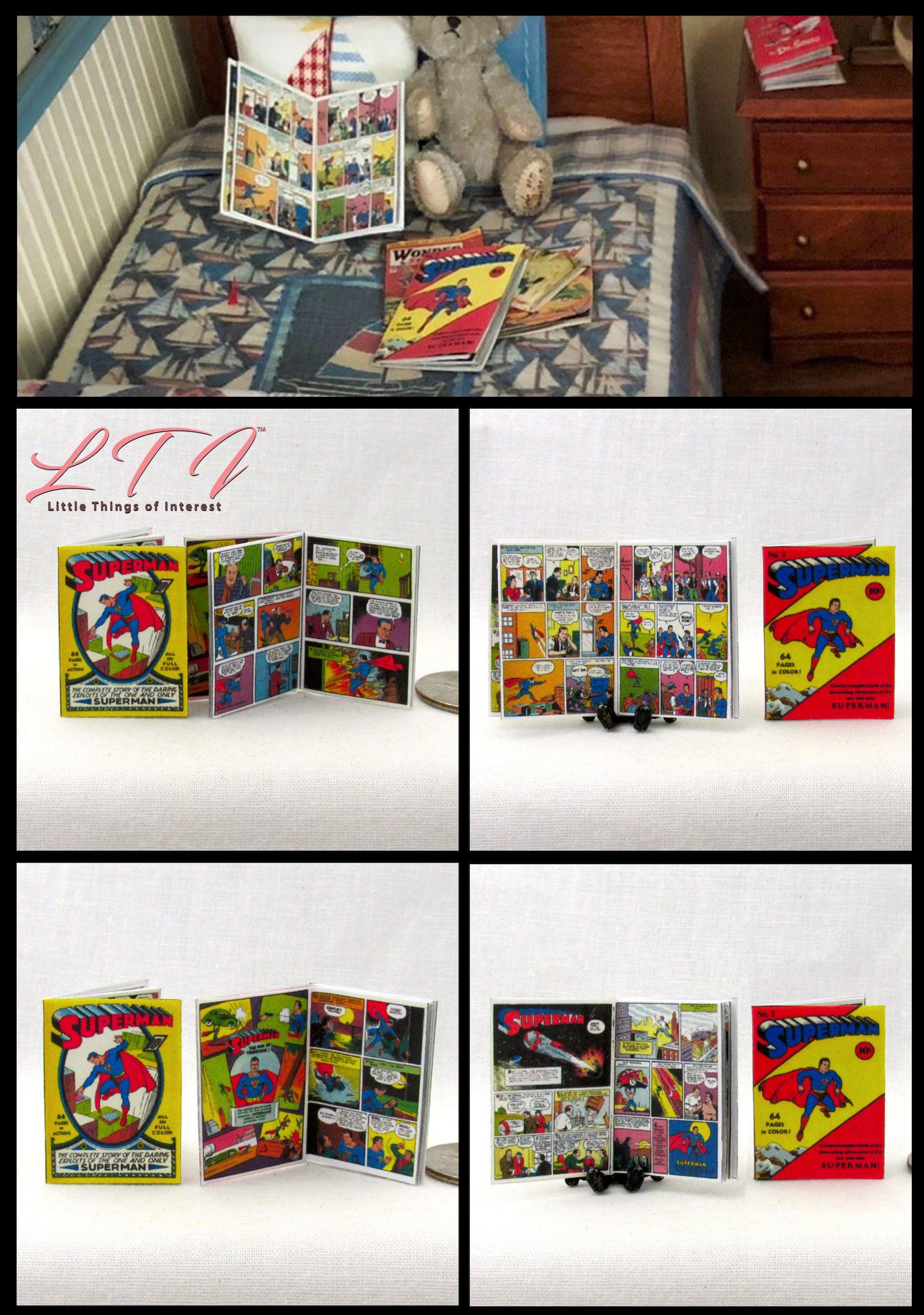 2 Miniature JUSTICE LEAGUE COMIC Books Dollhouse Readable 1:12 Scale 2 FOR 1 DC