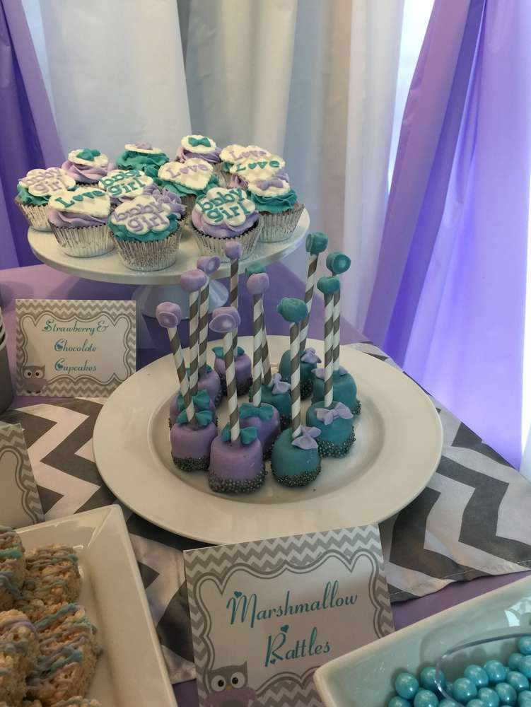 Marshmallow rattles at an owl baby shower party! See more party planning ideas at CatchMyParty.com!