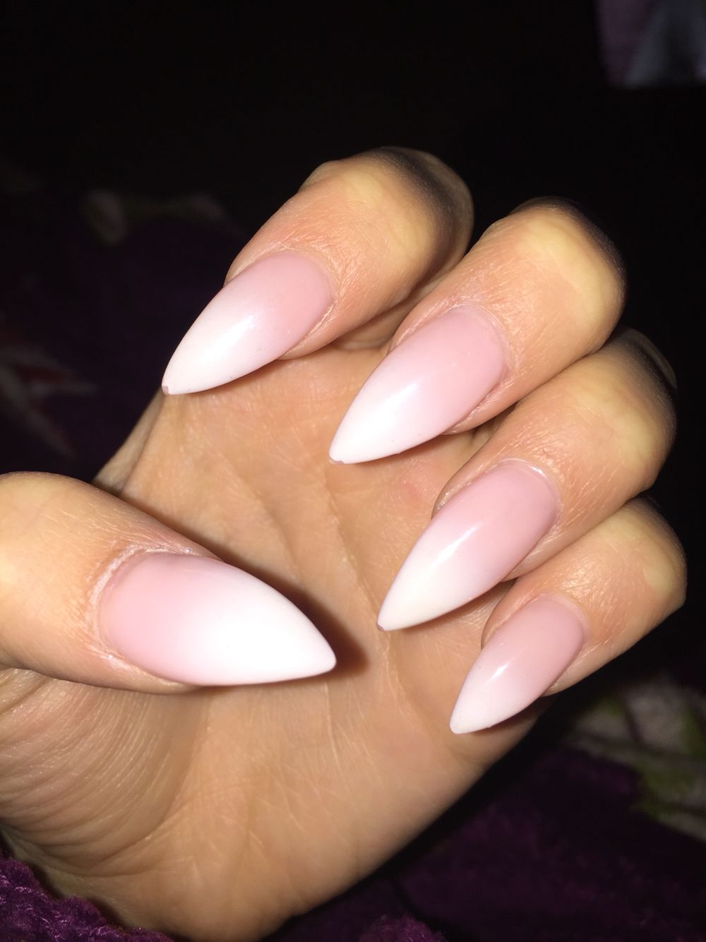Pink To White Ombre Stiletto Nails Pointed Nails Pointy Nails Nails Design With Rhinestones
