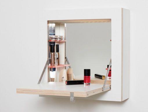 Estanter a minimalista como tocador tocadores wall for Bajo gabinete tocador bano de madera