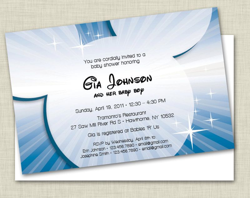 mickey mouse baby shower | CUSTOM Mickey Mouse Baby Shower Invites w ...