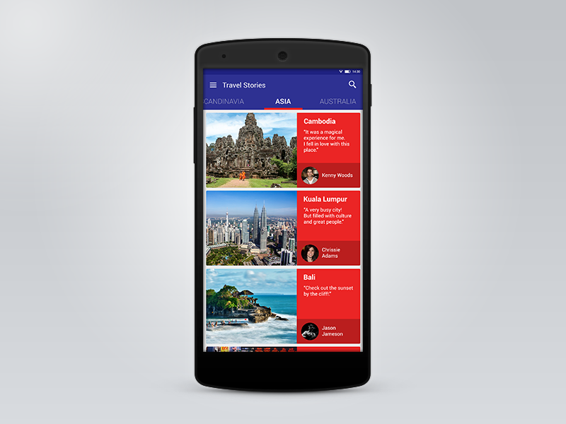 Android Material Design - Travel App   Android material design and ...