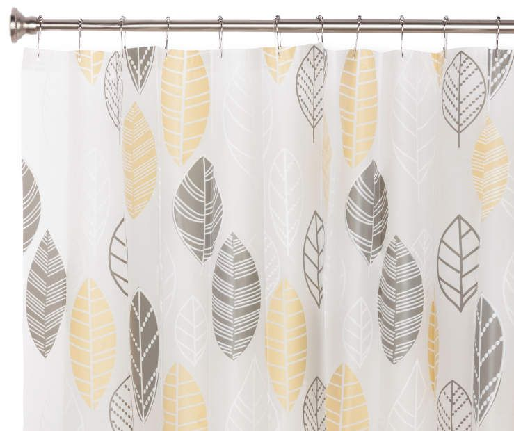 Just Home Gray Yellow Pe Shower Curtain Yellow Shower Curtains