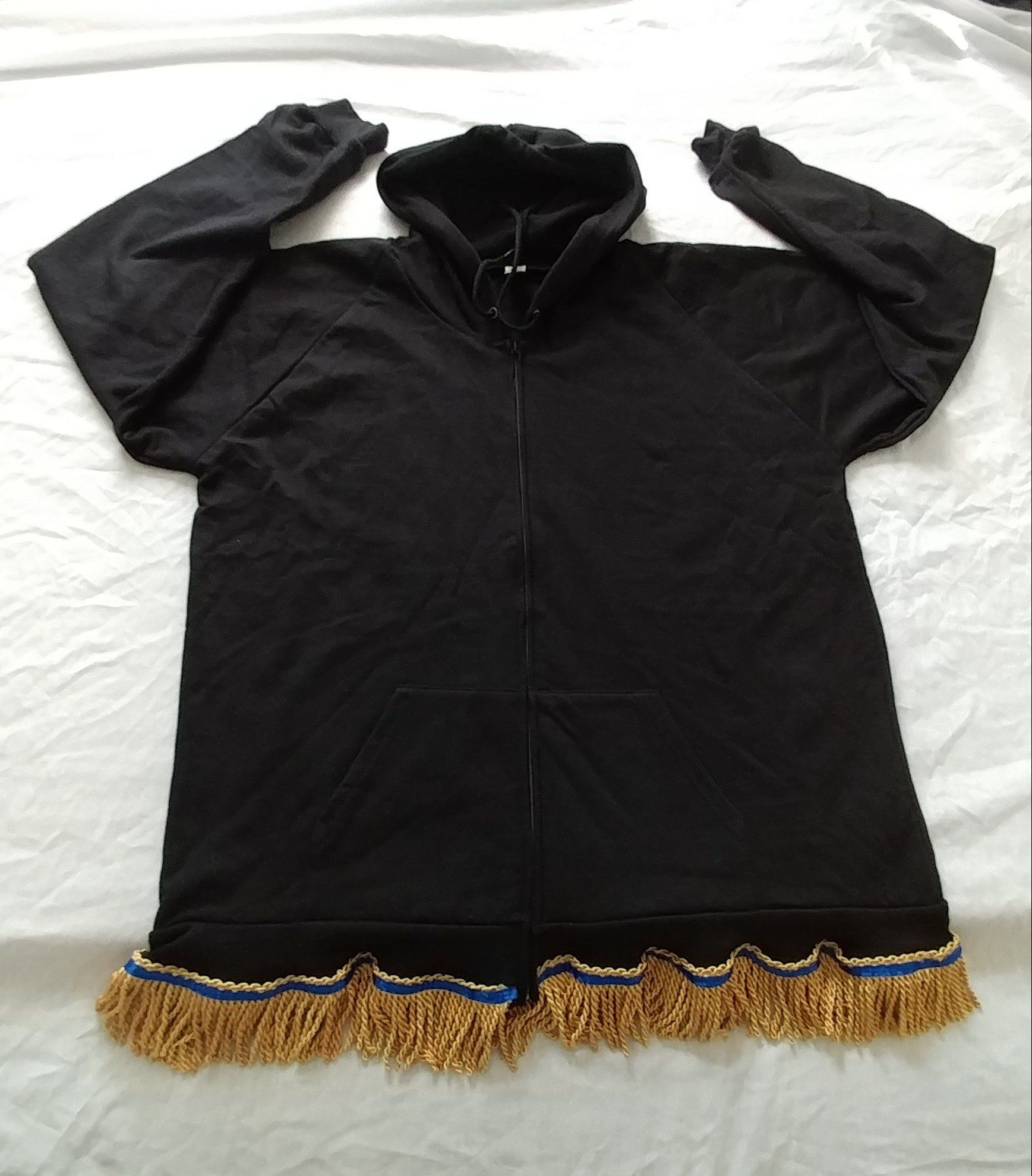 Hebrew Israelite Hooded Sweatshirt w/ Premium Gold or Black Fringes U9uS5