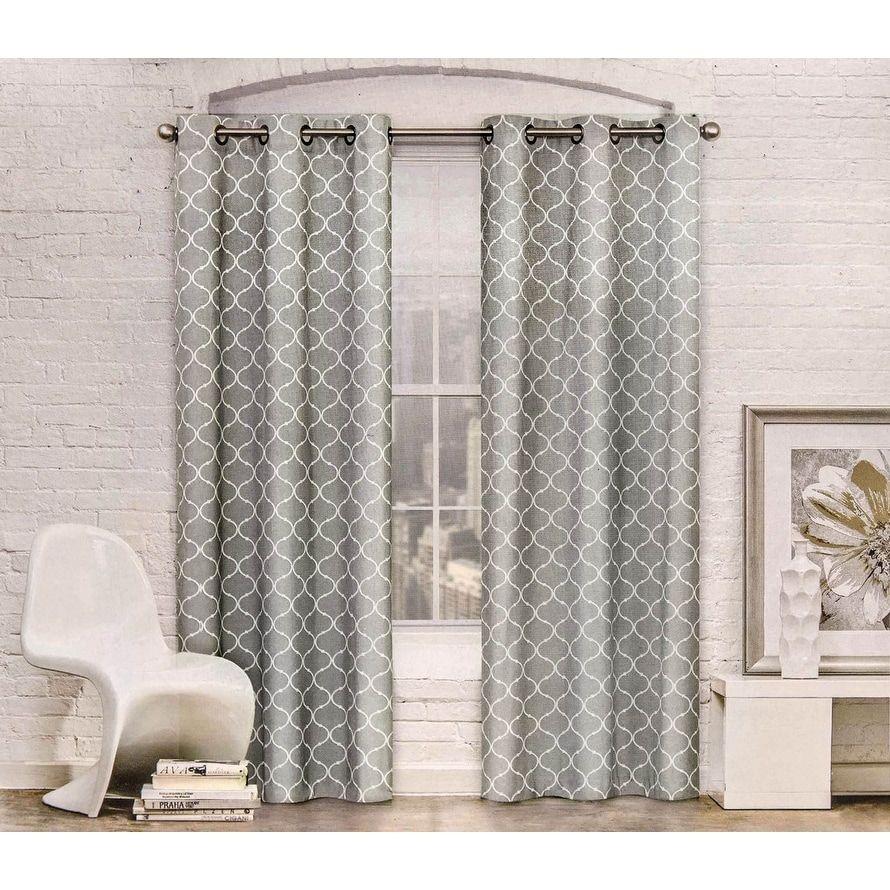 Contemporary moroccan trellis design classy top grommet two panel