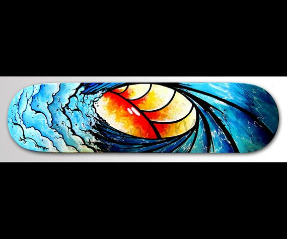 Skateboard Wall Art - Wave Painting - Hand Painted ...