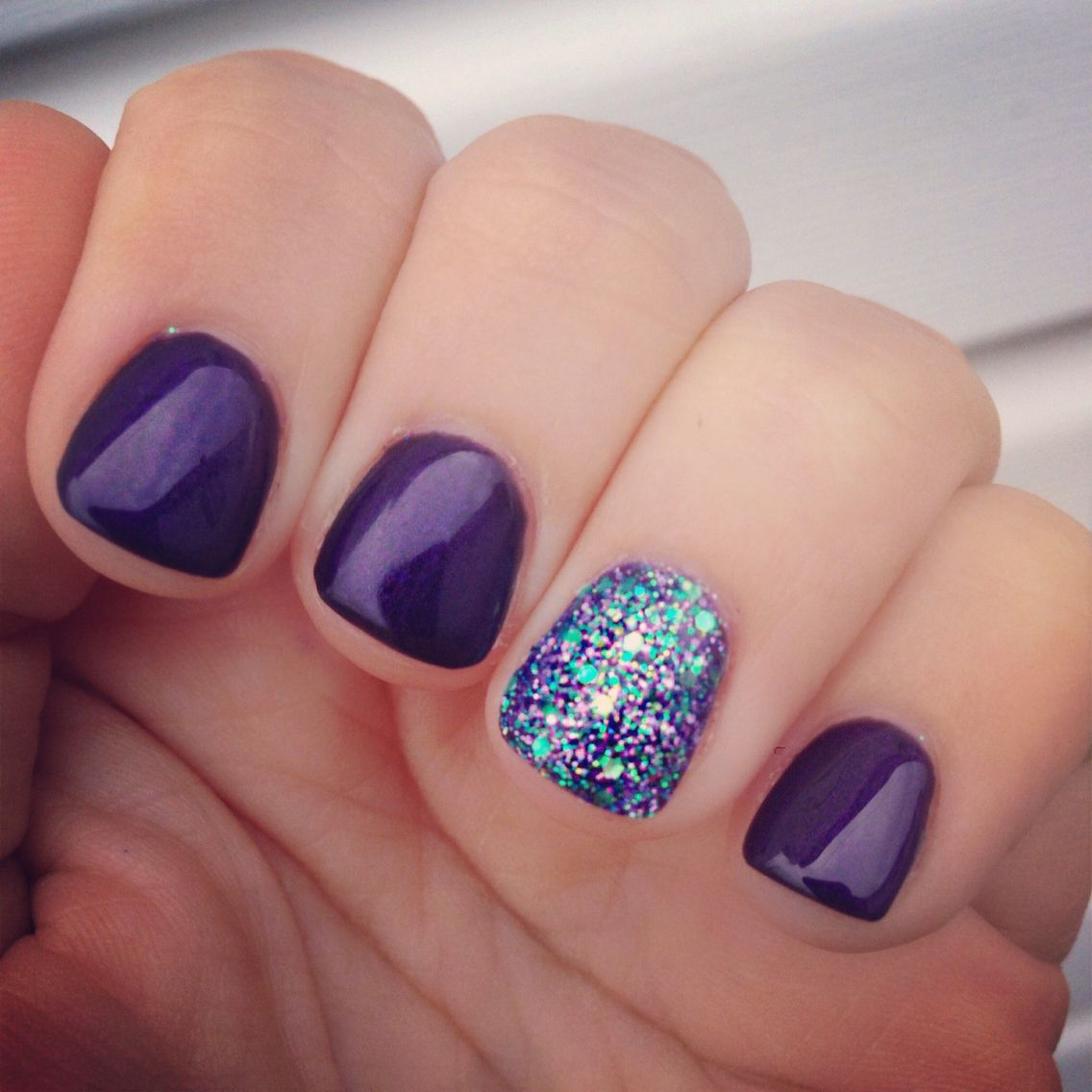 Peacock Inspired Nails Nailart Purple Glitter Peacock