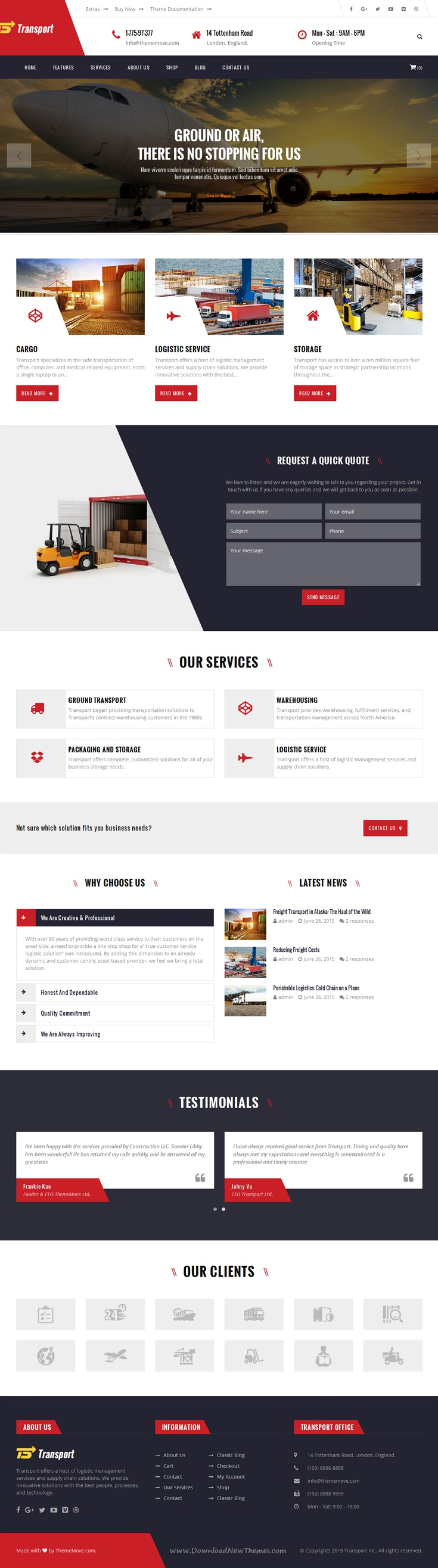 Transport is wonderful Bootstrap HTML #Template for Transport