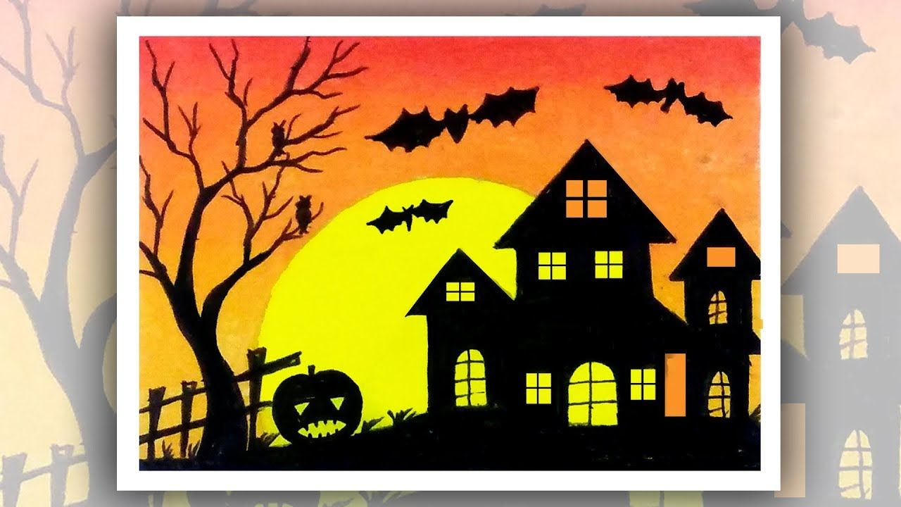 How To Draw Halloween Stuff Easy Oil Pastel Scenery Drawing With