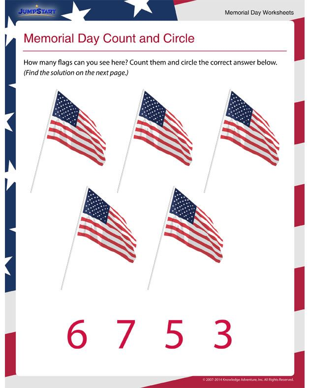 Memorial Day Count And Circle Printable Counting Worksheet For