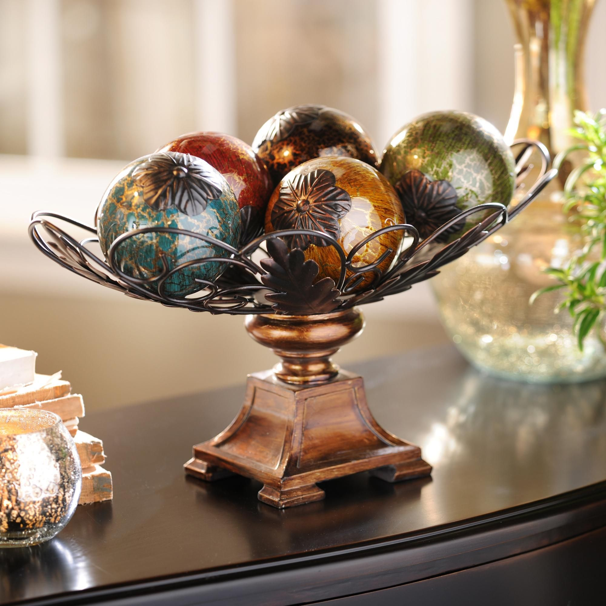 Product Details Acanthus Crackle Glass Orb Bowl Set