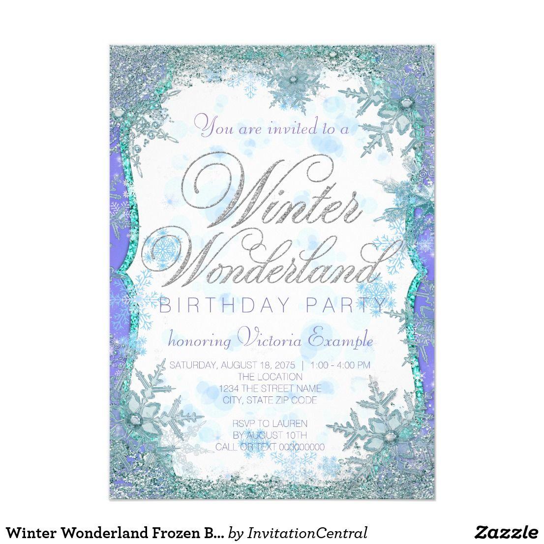 Winter Wonderland Frozen Birthday Party Card | Winter wonderland ...