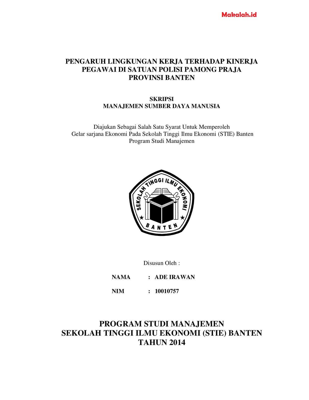 Skripsi Fakultas Ekonomi Jurusan Manajemen Sdm