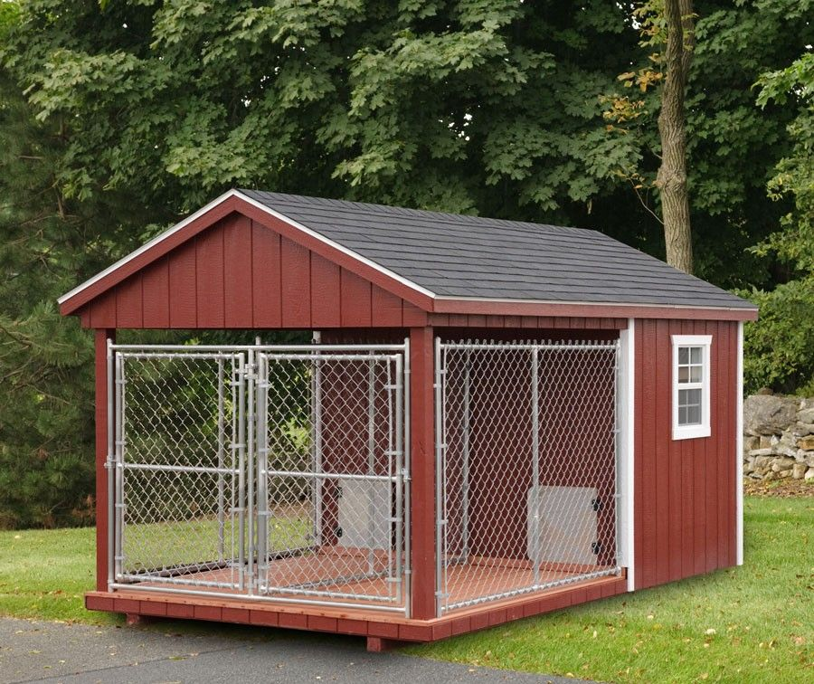 Fully Assembled 8 X 14 Ft Amish Made Double Dog Kennel Dog