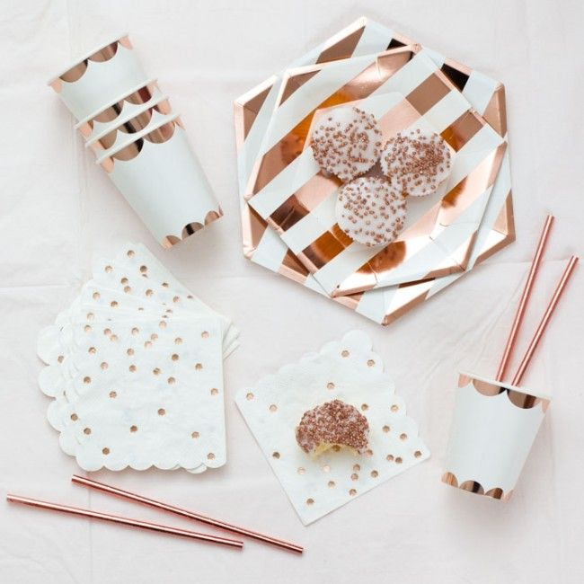 Rose Gold Paper Plates  sc 1 st  Pinterest : paper tableware for parties - pezcame.com