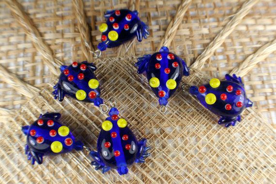 Blue Frog Lampwork Glass Bead/CharmPack of 6 beads by MapleRanch, $4.99