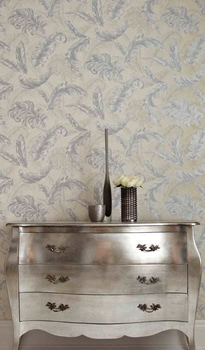 Floral and botanical wallpaper in silver with feather motif
