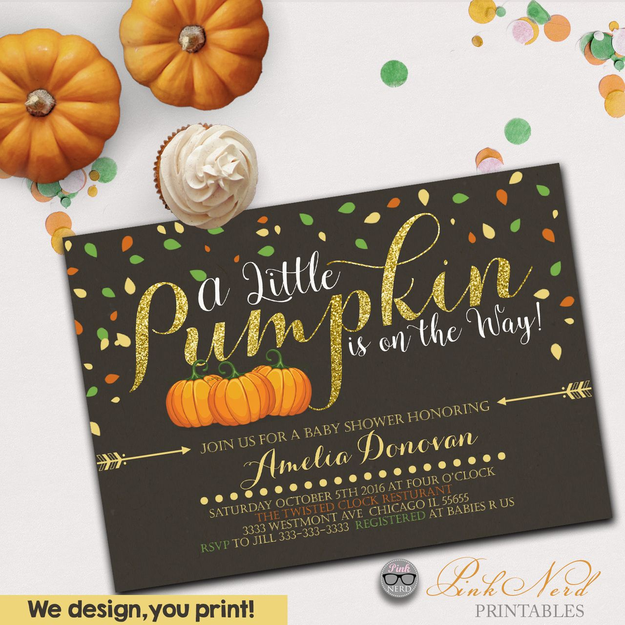 A little pumpkin baby shower invitation fall theme printable ...