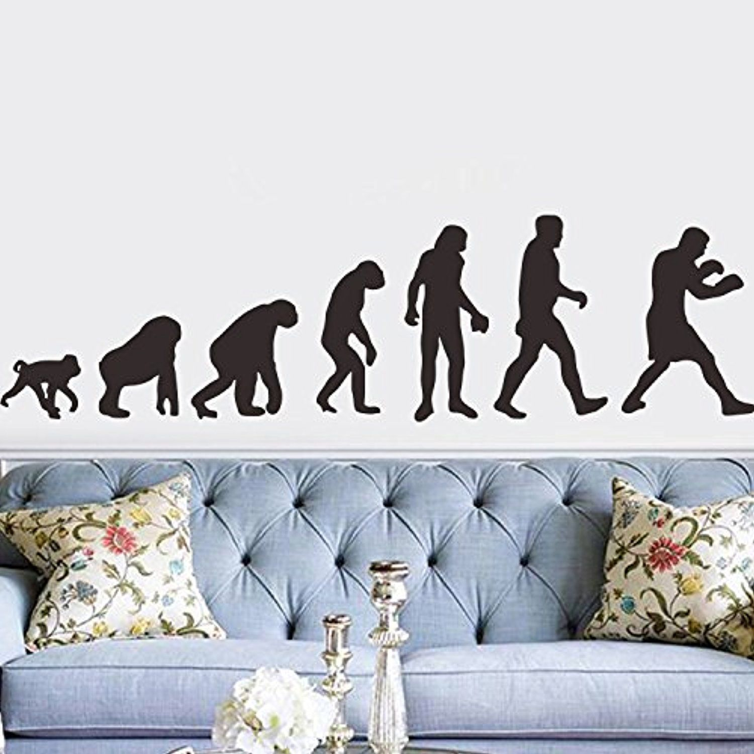 DecalMile Black Silhouette Ape Human Evolution Wall Stickers ...