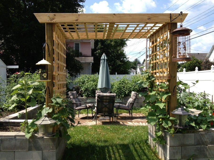 simple exterior design garden landscaping for small backyard with grand outside pergola gates in natural wood