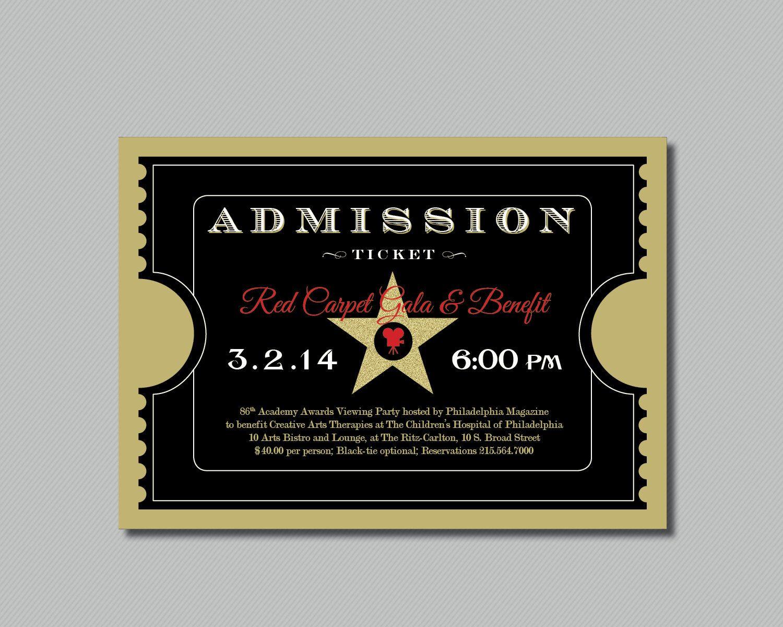 Printable   Red Carpet Gala   Hollywood   Oscars/Academy Awards Viewing  Party   Admission. Karten EinladungOscar ...